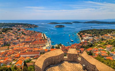 Hvar island, Adriatic Sea, summer, coast, harbor, Croatia, Europe, HDR