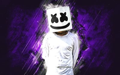 Marshmello, purple stone background, american dj, creative art, popular dj, Christopher Comstock