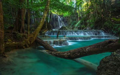 beautiful waterfall, rainforest, cascade of waterfalls, jungle, waterfalls, Thailand