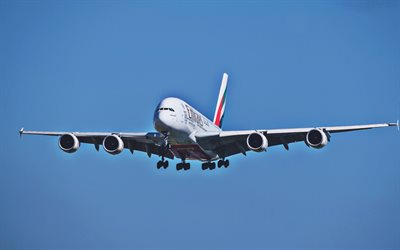 Flying A380, airplane, blue sky, Airbus A380, airliner, passenger planes, Airbus, A380