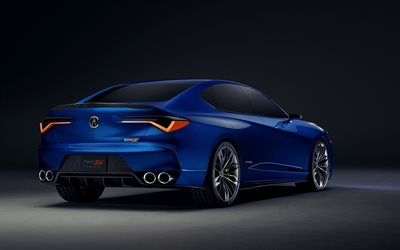 Acura Type S Concept, 2019, rear view, exterior, blue sedan, new blue Type S, japanese cars, Acura