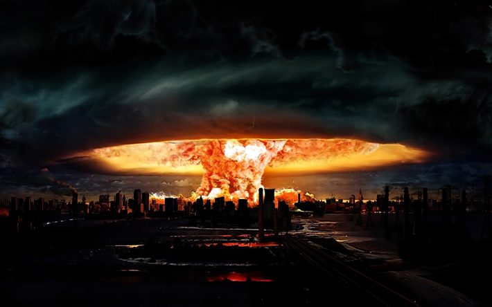 nuclear explosion, 4k, destruction of city, nightscapes, explosion in city, atomic bomb, apocalypse, atomic explosion