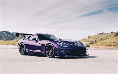 Dodge Viper ACR, 2019, supercar, purple sports coupe, tuning Viper, black wheels, new purple Viper, American sports cars, Dodge