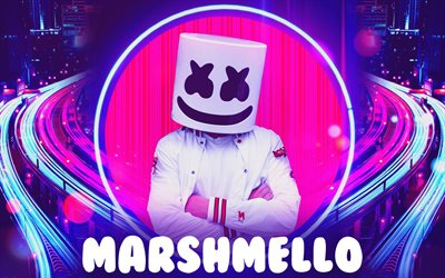 DJ Marshmello, abstract art, american DJ, music stars, Christopher Comstock, fan art, creative, Marshmello Helmet, superstars, Marshmello, DJs