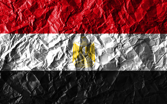 Egyptian flag, 4k, crumpled paper, African countries, creative, Flag of Egypt, national symbols, Africa, Egypt 3D flag, Egypt