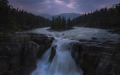 waterfall, evening, mountain river, sunset, beautiful waterfall, forest, island on the river, USA
