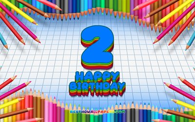 4k, Happy 2nd birthday, colorful pencils frame, Birthday Party, blue checkered background, Happy 2 Years Birthday, creative, 2nd Birthday, Birthday concept, 2nd Birthday Party