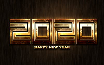 Happy New Year 2020, brown metal background, creative, 2020 golden linear digits, 2020 metal art, 2020 concepts, golden linear digits, 2020 on brown background, 2020 year digits