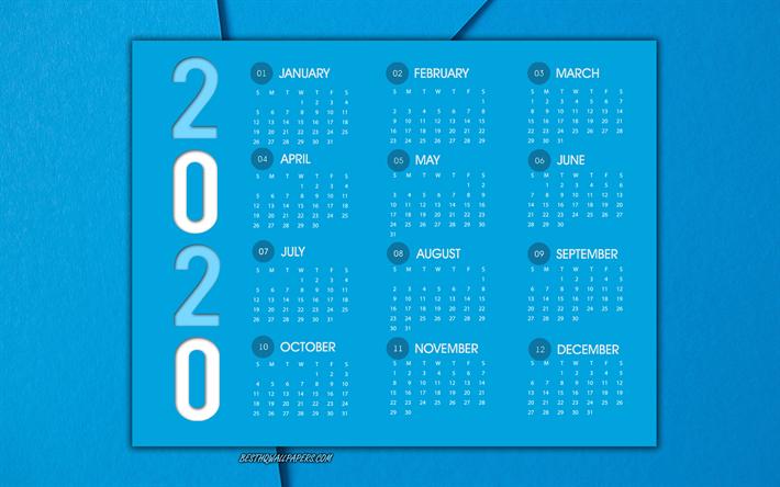 Download Wallpapers Blue 2020 Calendar Light Blue Abstract