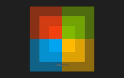 Windows creative logo, flat design, emblem, creative art, popular operating systems, Windows