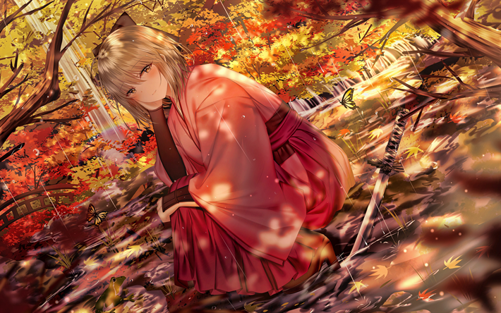 Sakura Saber, 4k, Fate Series, autumn, Fate Grand Order, Cherry Blossom Saber, Sakura Seiba, TYPE-MOON