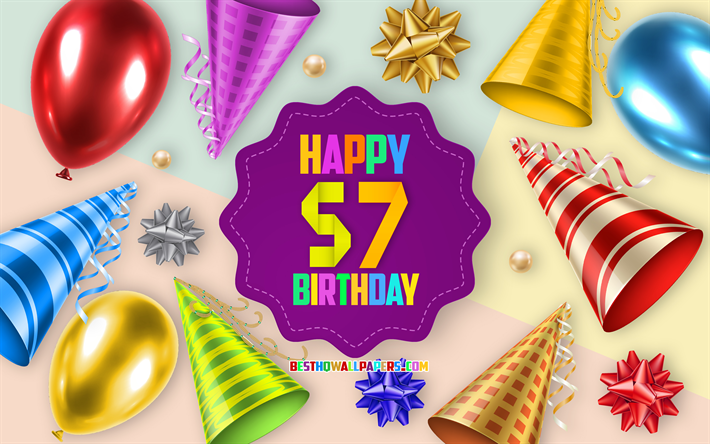 Happy 57 Years Birthday, Greeting Card, Birthday Balloon Background, creative art, Happy 57th birthday, silk bows, 57th Birthday, Birthday Party Background, Happy Birthday