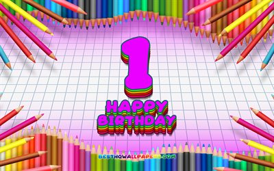 4k, Happy 1st birthday, colorful pencils frame, Birthday Party, purple checkered background, Happy 1 Years Birthday, creative, 1st Birthday, Birthday concept, 1st Birthday Party