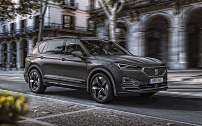 Seat Tarraco FR PHEV, 2020, front view, exterior, hybrid, gray crossover, new gray Tarraco, electric cars, Seat