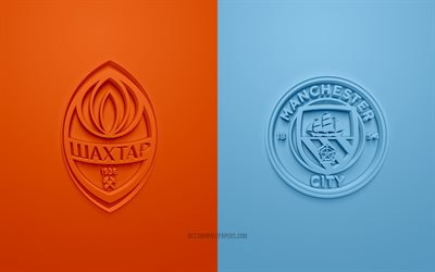 Shakhtar Donetsk vs Manchester City, Champions League, 2019, promo, football match, Group C, UEFA, Europe, Shakhtar Donetsk, Manchester City, 3d art, 3d logo, Shakhtar vs Manchester City