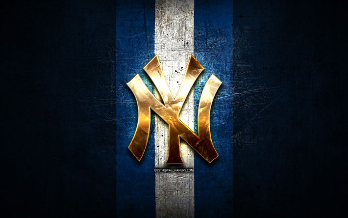Nova York Yankees, ouro logotipo, MLB, metal azul de fundo, americana time de beisebol, Major League Baseball, Logotipo do New York Yankees, beisebol, EUA, NY Yankees