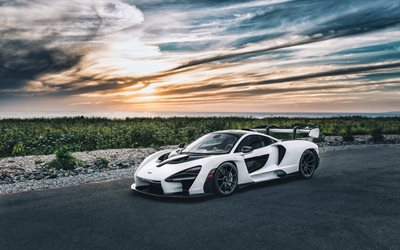 McLaren Senna, 2019, white supercar, evening, sunset, new white Senna 2019, luxury sports cars, British sports cars, McLaren