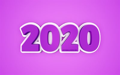2020 Year concepts, Purple 2020 background, 3D 2020 background, Happy New Year, 2020, creative 3D art, 2020 concepts