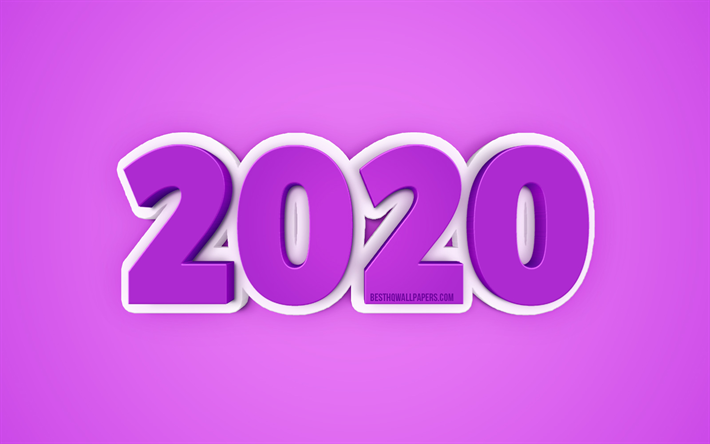 Download wallpapers 2020 Year concepts, Purple 2020