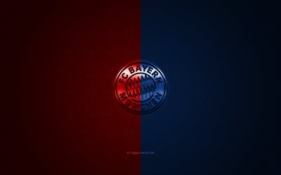 FC Bayern Munich, German football club, Bundesliga, red-blue logo, red-blue carbon fiber background, football, Munich, Germany, Bayern Munich logo