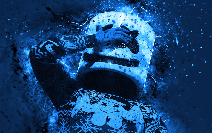DJ Marshmello, 4k, blue neon lights, american DJ, music stars, Christopher Comstock, night club, creative, Marshmello Helmet, superstars, Marshmello, DJs