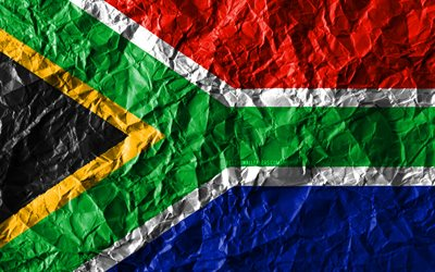 South African flag, 4k, crumpled paper, African countries, creative, Flag of South Africa, national symbols, Africa, South Africa 3D flag, South Africa