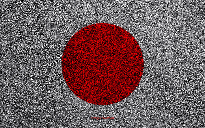 Flag of Japan, asphalt texture, flag on asphalt, Japan flag, Asia, Japan, flags of Asia countries