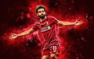 Mohamed Salah, 2019, Liverpool FC, egyptian footballers, goal, LFC, fan art, Salah, Premier League, Mohamed Salah art, Salah Liverpool, Mo Salah, soccer, neon lights