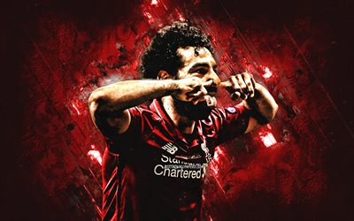 Mohamed Salah, portrait, Liverpool FC, Egyptian football player, striker, red creative background, stone background, Premier League, England, football, Salah Liverpool