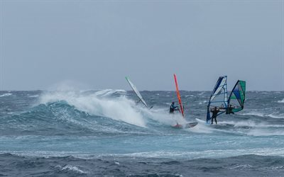 windsurfing, extreme sports, wave, sea