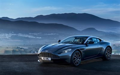 Aston Martin DB11, 2017, British sports car, gray DB11, sunset, evening