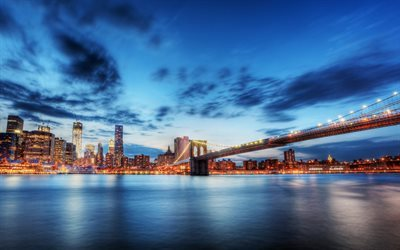 New York, Brooklyn Bridge, East River, Evening, USA, skyscrapers