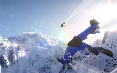 Wingsuit, 4k, 2017 games, mountains, sports simulator, Steep