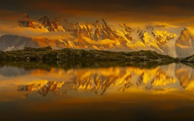 Lake Cheserey, sunset, reflection, French Alps, mountains, France