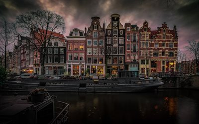 Amsterdam, Netherlands, urban neighborhoods, channel, houses
