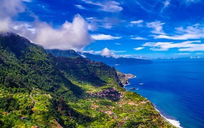 Madeira, 4k, sea, summer, mountains, coast, Portugal