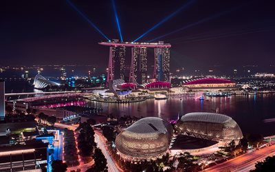 4k, Marina Bay Sands, nightscape, modern architecture, Singapore, Asia