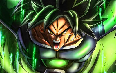 4k, Broly, green fire, art, Dragon Ball, DBS, Dragon Ball Super, DBS characters