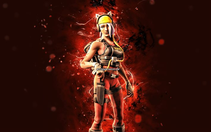Catastrophe, 4k, orange neon lights, Fortnite Battle Royale, Fortnite characters, Catastrophe Skin, Fortnite, Catastrophe Fortnite