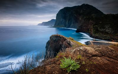 Madeira, North Atlantic Ocean, coast, mountain landscape, evening, sunset, Portugal