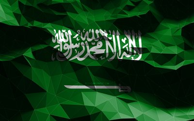 4k, Saudi flag, low poly art, Asian countries, national symbols, Flag of Saudi Arabia, 3D flags, Saudi Arabia flag, Saudi Arabia, Asia, Saudi Arabia 3D flag