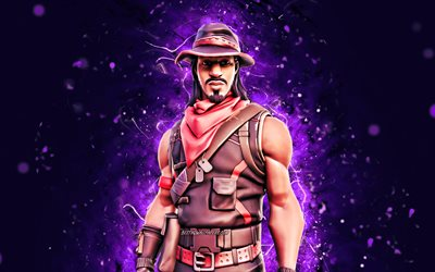 Desperado, 4k, violet neon lights, Fortnite Battle Royale, Fortnite characters, Desperado Skin, Fortnite, Desperado Fortnite