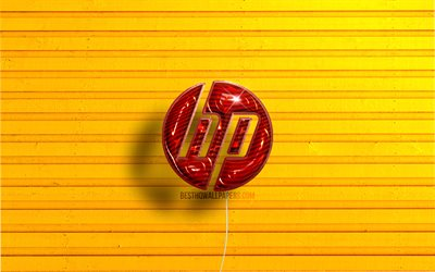 HP logo, 4K, red realistic balloons, Hewlett-Packard logo, HP 3D logo, Hewlett-Packard, yellow wooden backgrounds, HP