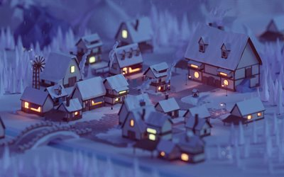 village, 4k, low poly art, winter, houses, evening landscape, abstract winter landscape, abstract nightscapes, 3D art
