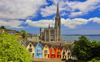 Cobh Cathedral, Cobh, Roman Catholic cathedral, Queenstown Cathedral, Cathedral Church of St Colman, Cobh cityscape, Landmark, Ireland