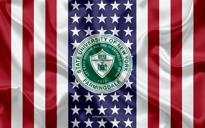 State University of New York at Farmingdale Emblem, American Flag, State University of New York at Farmingdale logo, East Farmingdale, New York, USA, State University of New York at Farmingdale