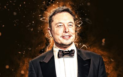 Elon Musk, 4k, brown neon lights, american engineers, american celebrity, Elon Reeve Musk, artwork, Elon Musk 4K