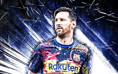 Lionel Messi, close-up, 4k, Barcelona FC, grunge art, La Liga, new uniform, argentinian footballers, blue abstract rays, FCB, football stars, Messi, Leo Messi, Barca, soccer, LaLiga