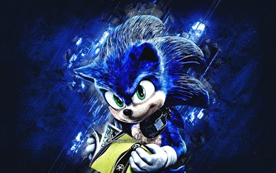 Sonic, characters, Sonic the Hedgehog, blue stone background, creative art, Sonic character