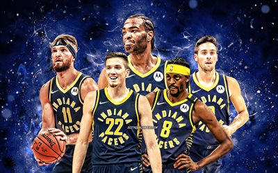 Justin Holiday, TJ Leaf, Domantas Sabonis, TJ Warren, TJ McConnell, 4k, Indiana Pacers, basketball, NBA, Indiana Pacers team, blue neon lights, basketball stars